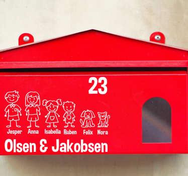 Dejligt familiemærke tekst klistermærke til postkassen i dit hus. En stor samling af interessante postkasse-familie-klistermærker og postkasse-tekstklistermærker!