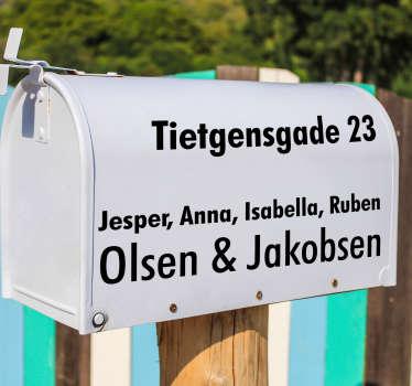 Postkasse adresse tekst klistermærke tekst klistermærke