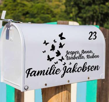 Postkasse klistermærke med fugle tekst klistermærke