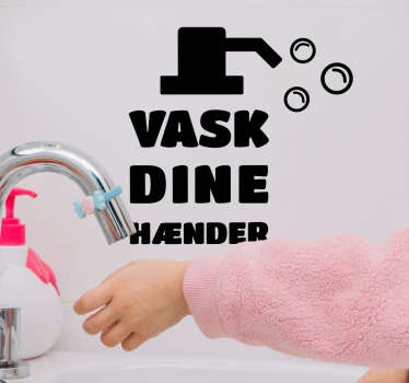 Ryd dine hænder hjem tekst væg klistermærke