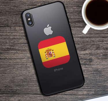 Resistente pegatina decorativa adhesiva para iPhone formada por el diseño de la bandera de España. +50 Colores Disponibles.
