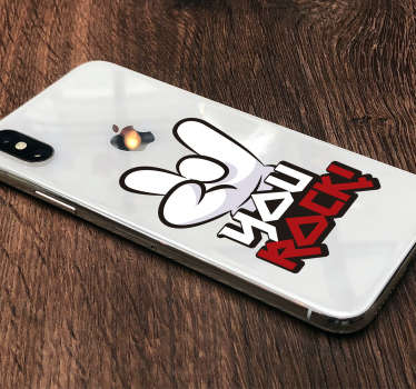 Decorate your iPhone with this fantastic decorative iPhone sticker, perfect for adding a slightly unique touch! You rock!