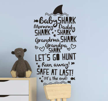 Leuke baby shark song tekst sticker voor de slaapkamer!  Geniet van leuke baby shark song sticker, baby shark sticker en tekst sticker baby shark song!