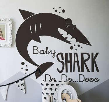 Muurstickers kinderkamer Baby shark silhouet