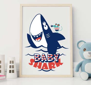Muurstickers kinderkamer baby shark en muisje
