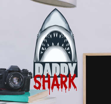 Muurstickers slaapkamer Daddy shark text sticker