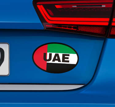 Decorative car vinyl sticker with UAE flag print. Easy to apply and available in any required size. Made from the best of quality vinyl.