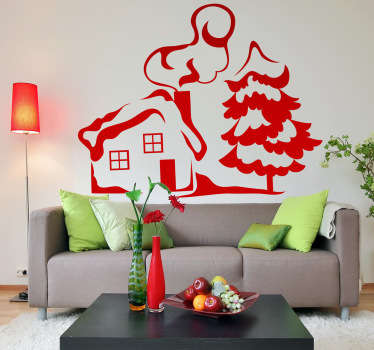 Wall Stickers - Illustration of a small house with chimney covered in snow next to a frosted tree.