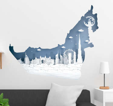 Decorative city skyline wall sticker of UAE. An amazing design for an ideal living room space. Easy to apply and available in any required size.