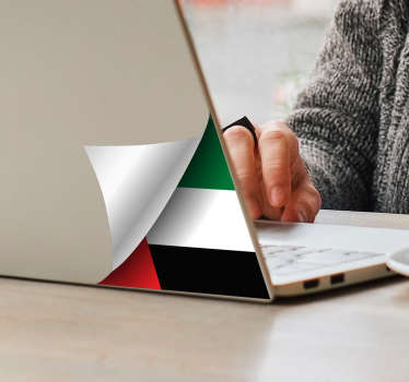 Laptop vinyl decal of UAE flag to decorate a laptop. Easy to apply and can be chosen in any required size. Made from the best quality adhesive vinyl.