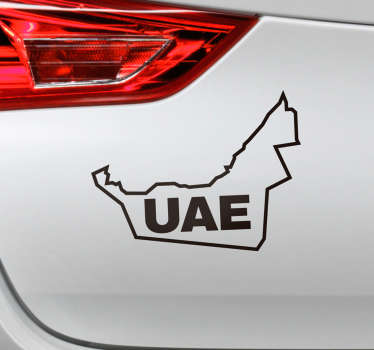Flag car vinyl sticker of UAEsilhouettes that can be chosen in any desired colour and size. Easy to apply and from the best of quality material.