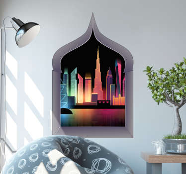 Dubai view wall mural sticker with 3D visual effect. Ideal for a living room decoration and can be easily applied. Made from the best quality vinyl.