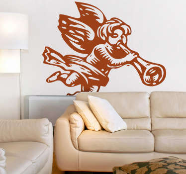 This decal illustrating an angel from heaven blowing his trumpet is perfect for the Christmas season. A lovely angel wall art sticker.