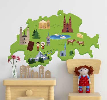 Mögen Sie die Schweiz? Dann kleben Sie dieses Wandtattoo an Ihre Wand! Der schweizer Sticker zeigt alle wichtigen Merkmale.