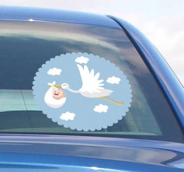 Naklejka na samochód Bocian niosący dziecko