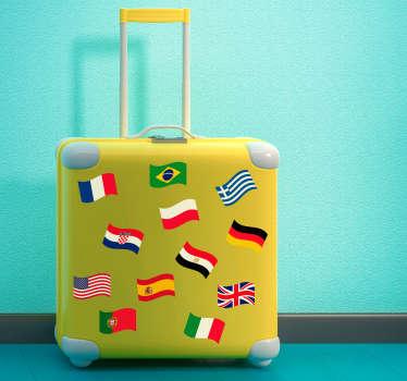 Naklejka na walizki różne flagi