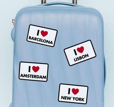 Naklejka na walizkę Kocham podróżować I love...