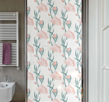 Shower screen door sticker for bathroom space with the design of colorful poppy flowers. Easy to apply and self adhesive. Choose the size option.