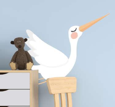 Adesivo da parete uccello cicogna per la decorazione domestica. Disponibile in qualsiasi dimensione e può essere applicato facilmente. Alta qualità e design adesivo.