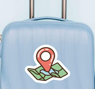 Pegatina adhesiva para maleta formada por el dibujo de un mapa con el símbolo típico de una ubicación exacta. +10.000 Opiniones satisfactorias.