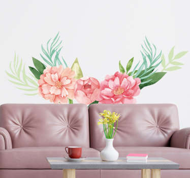 Decorative living room wall sticker with the design of a peonies flower plant in pastel colour . Choose it in the best suitable size.