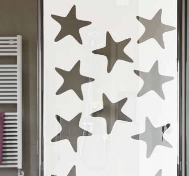 Sea stars shower screen sticker for bathroom decoration. Choose the best suitable size for a desired space. Easy to apply.