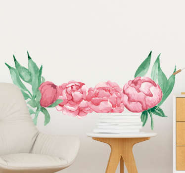 Decorative home vinyl wall decal with the design of  pink peonies flower plant. Easy to apply and available in different size options.