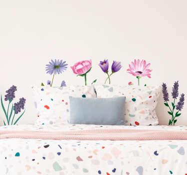 Adesivo decorativo da parete per la casa con il design di bellissime piante da fiore. Uno sticker ideale per una stanza di rivestimento o spazio camera da letto.