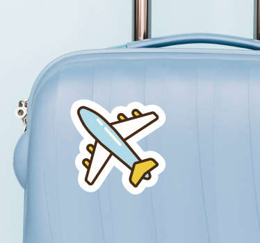 Pegatina adhesiva con temática viajera para decorar y personalizar tu equipaje formada por el diseño de un avión. Precios imbatibles.