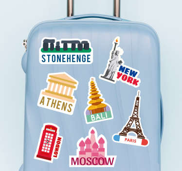 Decorative  vinyl sticker with the design of cities and countries in colorful style. It can be applied o any flat surface in the size of preference.