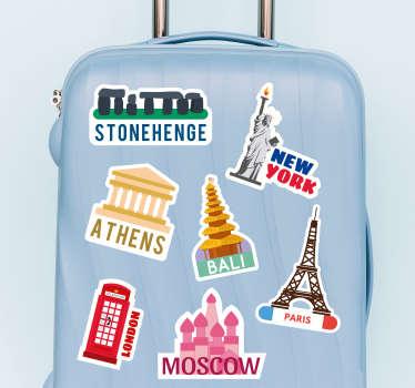 Naklejka na walizkę Zastaw słynne miejsca