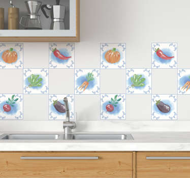 Decorative vinyl tile sticker with the design of different vegetables to decorate the kitchen wall space. Easy to apply.
