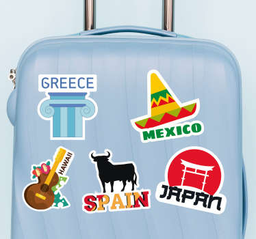 Naklejka na bagaż Słynne miejsca na walizkę