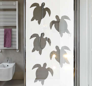 Marine tortoise prints shower screen sticker to decorate the bathroom shower door. Easy to apply with self adhesive. Buy it in the best suitable size.