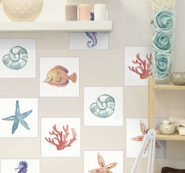 Decorative animal tile decal with the design prints of marine lives like star fish, coral, snail and more. Buy it in the desirable pack set.