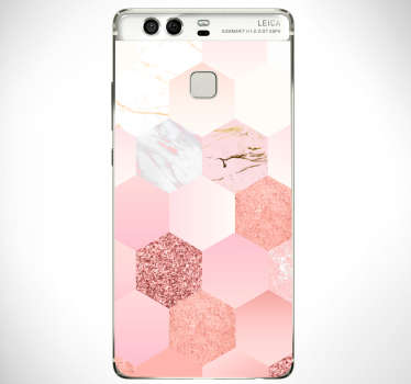 Rose colour geometric pattern huawei decal to decorate the back surface in full. Choose it in the best size option. Easy to apply.
