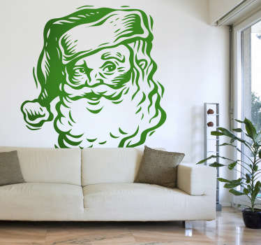 A decorative sticker of Santa Claus. A fantastic wall decal to give your home a Christmassy atmosphere!