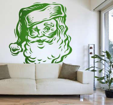 Wandtattoo Weihnachtsmann Kopf