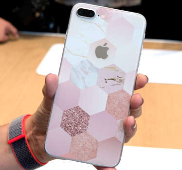 Rose colour geometric pattern iPhone decal to decorate the back surface in full. Choose the best suitable size option. Easy to apply.