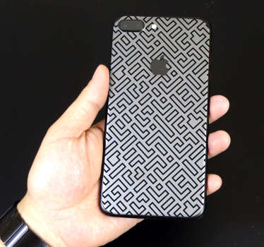 An ornamental maze pattern iPhone vinyl sticker to cover the back surface in style. Easy to apply and very self adhesive.