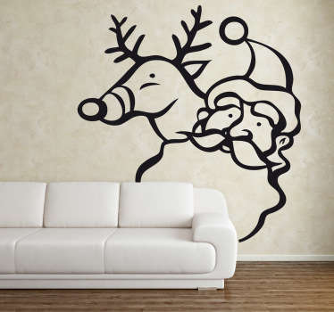 Wall Stickers- Illustration of Father Christmas and Rudolf. Christmas decorations ideal for the home or business.