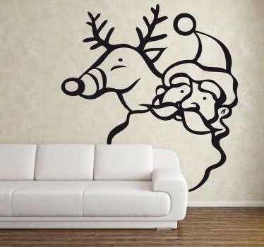 Sticker decorativo cervo e Santa Claus