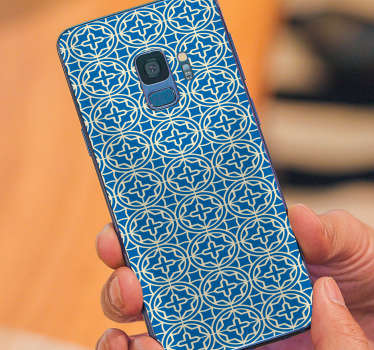 Ornamental sticker for Samsung and for smartphones from other manufacturers. Amaze your friends with this original blue phone decal.