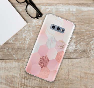 ピンクの幾何学的な質感の電話ステッカー
