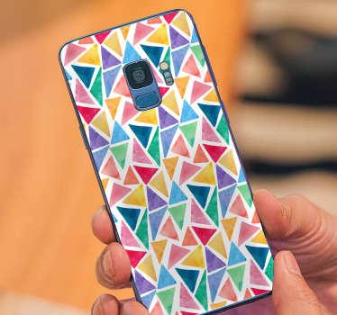 Suluboya mozaik geometrik telefon etiket