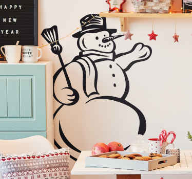 Decorative sticker of a snowman. The perfect wall decal to decorate your wall in a fun way during Christmas.