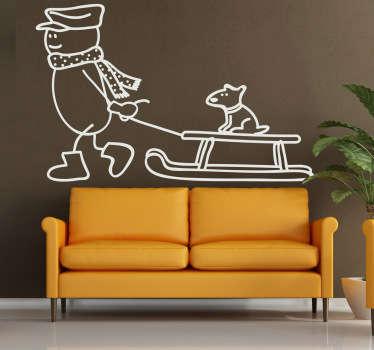 Sticker illustration chien traîneau