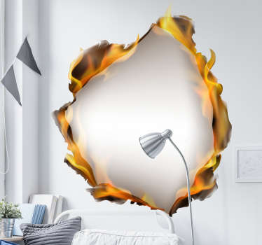 An original visual effect vinyl wall sticker with the design of a fire in a hole . Choose it in the best size option. Easy to apply.