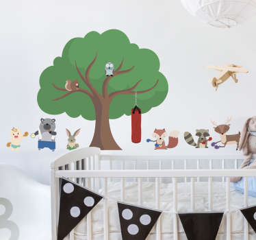 Boxing Forest Critters wall stickers for kids