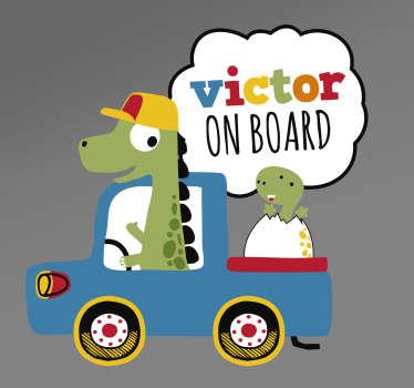 Naklejka z rysunkiem Dinozaur na pokładzie